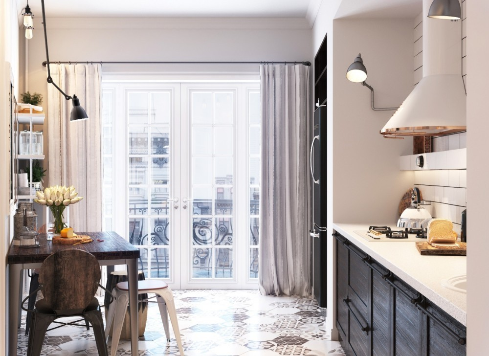 Picture Of small yet airy scandinavian kitchen design  2