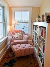 a perfect reading nook with large windows