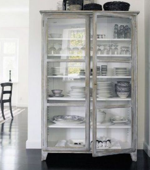 a whitewashed glass cupboard is a gorgeous solution to store and display your stuff is a lovely idea for a kitchen or dining space