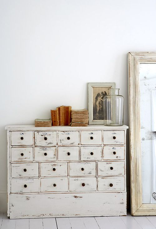 a vintage whitewashed file storage unit is an elegant idea for a vintage space, for a Scandi or shabby chic one