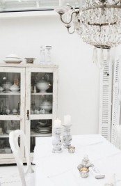 a delicate and beautiful whitewashed shabby chic buffet is a pretty idea of a dining room and it looks cool and fresh