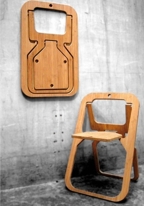 a plywood folding chair that can be folded flat is a great piece for a small space and very comfy to take outdoors