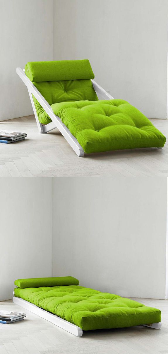 a neon green lounger can be transformed into a daybed or back depending on what piece of furniture you need right now