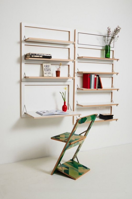 a white storage unit with all the foldable shelves and a desk and various stuff like books and blooms is a very cool idea