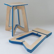a plywood stool with a bright blue edge is a cool idea for any small modern space and for outdoors, too