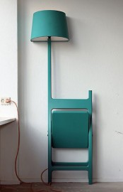 a bright turquoise chair that can be folded and a lamp for cool small home decor
