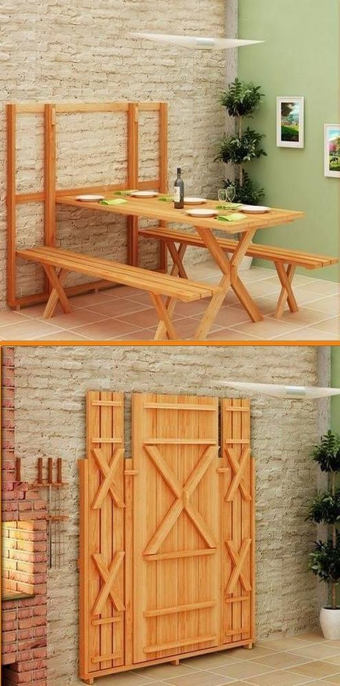 a rustic foldable dining set with a table and benches is a comfortable set for a small dining space or kitchen