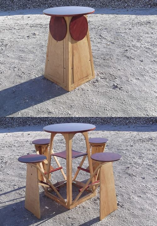 a small table with hidden stools that can be folded is a great idea for any small outdoor space