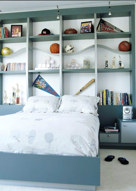 Turning a headboard into a display shelving unit might be a smart decision for some bedrooms.