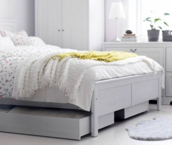It's always a smart decision to use underbed drawers on casters. They could easily be moved and they could fit a lot of things like additional bedding sets or pillows.