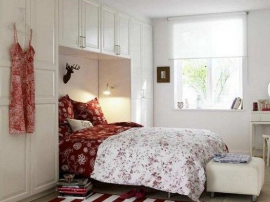 Smart furniture allow to use the space above and around the bed with style.