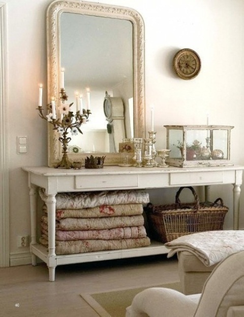 If you're into shabby chic interiors then a vintage console table could become a display of things in your bedroom.