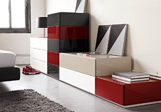Playing with colors and patterns can make your storage furniture anything but dull looking.