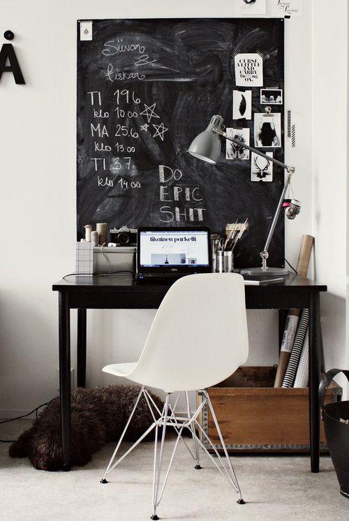32 smart chalkboard home office d cor ideas digsdigs - Decoration de bureau ...
