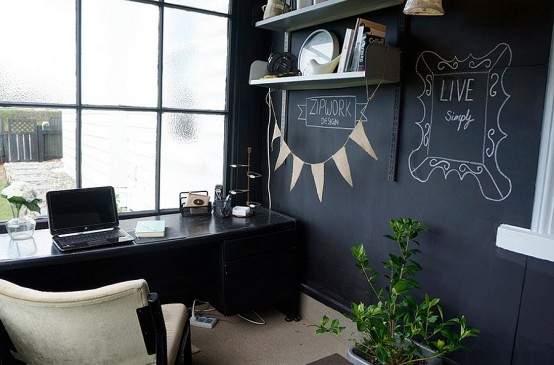 32 smart chalkboard home office d cor ideas digsdigs for Home decor 365