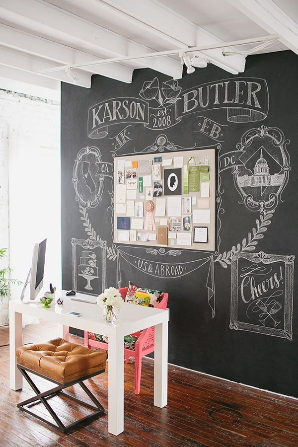 32 smart chalkboard home office d cor ideas digsdigs for Blackboard design ideas