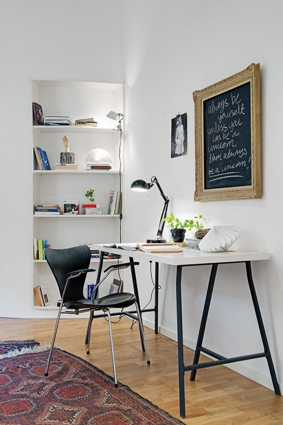 32 smart chalkboard home office d cor ideas digsdigs for Home office makeover ideas