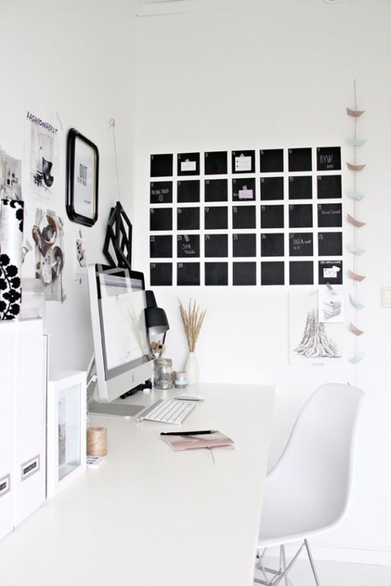 32 Smart Chalkboard Home Office Décor Ideas - DigsDigs
