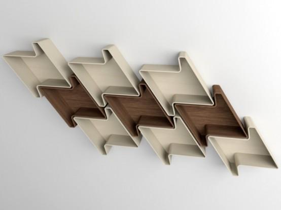 Smart Minimalist Shelves In Houndstooth Shape