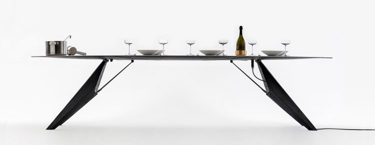 Smart Slab Dining Table For Heating And Cooling The Food
