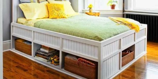 a white beadboard bed with open storage compartments with woven boxes and without is a cool solution to get more storage space