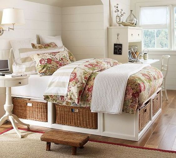 a white rustic-inspired bed with storage drawers is a cool idea for any space, it features a lot of cute storage space