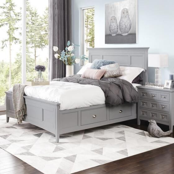 a rustic grey bed with drawers is a nice piece for a modern space, elegant nightstands echo with it