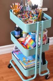 IKEA Raskog cart to store kids art supplies