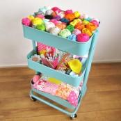 IKEA Raskog to store knitting supplies