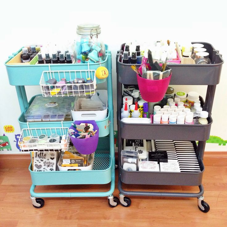 Two IKEA Raskog carts that acts as crafts storage