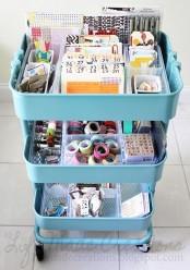 IKEA Raskog cart to store kids craft supplies