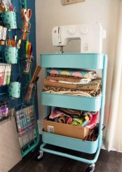 IKEA Raskog cart can be used as a sewing station