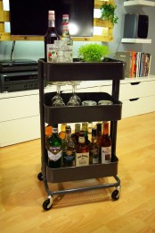 IKEA Raskog cart can be used as a mini bar
