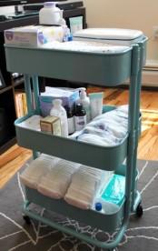 IKEA Raskog cart to store baby supplies