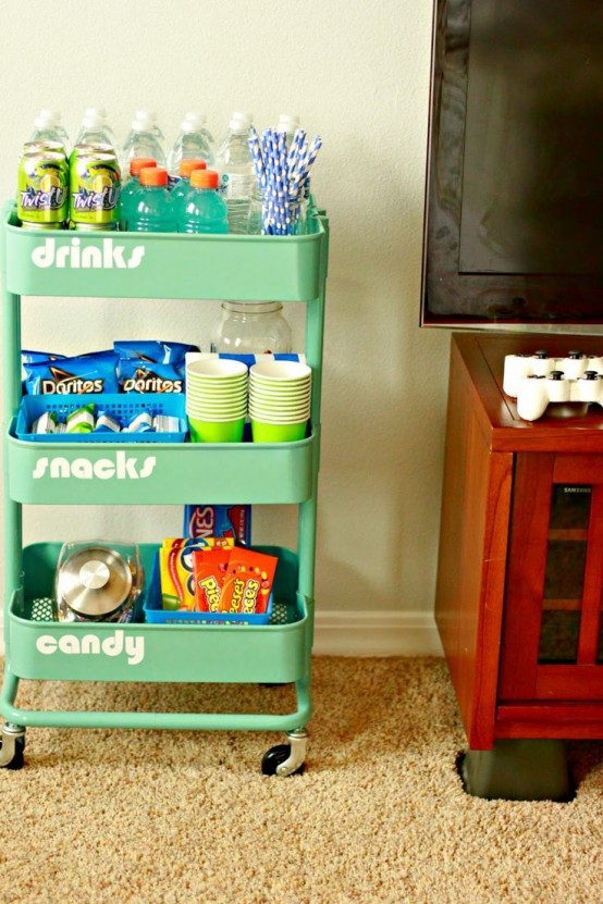 IKEA Raskog cart can be used as a mini snack station