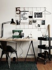 Black IKEA Raskog is a perfect addition to Rustic home office