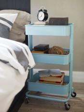 IKEA Raskog to organize stuff by the bed
