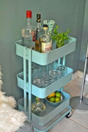 IKEA Raskog cart as a mini bar