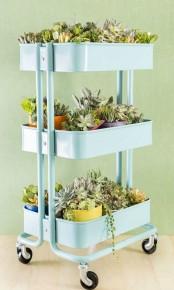 IKEA Raskog cart as a plant stand