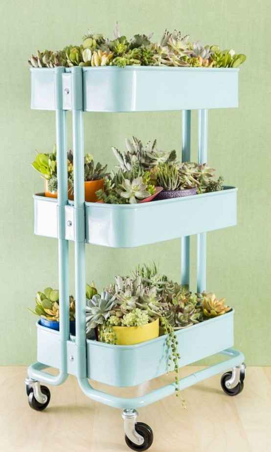 IKEA Raskog cart as a plant stand