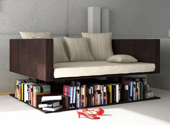 Sofa Levitating Above The Books