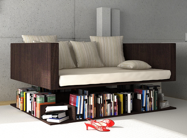 Sofa Levitating Above The Books
