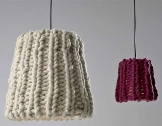 pendant lamps with chunky knit covers in various colors are a nice way to spruce up your space for fall or winter