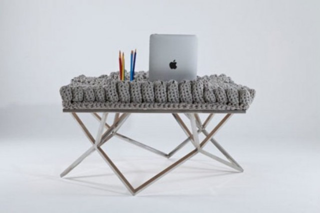a cool crochet desk with lots of crochet elements on the desktop that can hold your things is a perfect item for a creative person