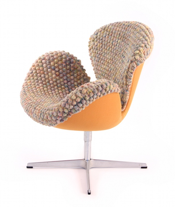 a quirky and cool chair covered with cozy crochet will make your staying home cozier and more comfortable