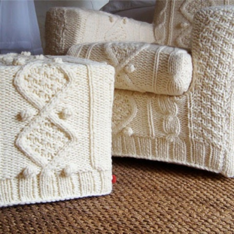 a white knit chair and footrest cover will cozy up your furniture for the fall and make it very inviting for you