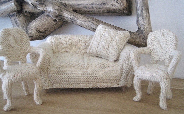 a set of a sofa with pillows and vintage chairs covered with white crochet are a fun way to cozy up your space for cold days