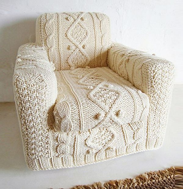 a comfy chair with a white crochet cover will make your space winter ready and very cozy at the same time