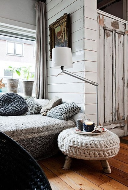 a cool chunky knit ottoman like this one will add coziness to any space and make it very welcoming