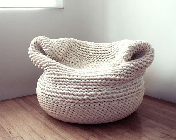 a fully crochet beanbag chair in neutrals will finish off your space and will make your home inviting
